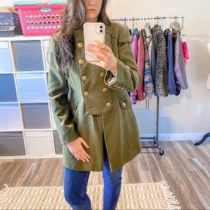 Guess Buttoned Up Green Pea Jacket Size Medium